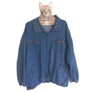 Vintage Embellished Jean Jacket Denim Outbrook 1X